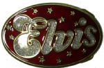 Elvis Red and Silver Glitter Belt Buckle + display stand. Code AD6